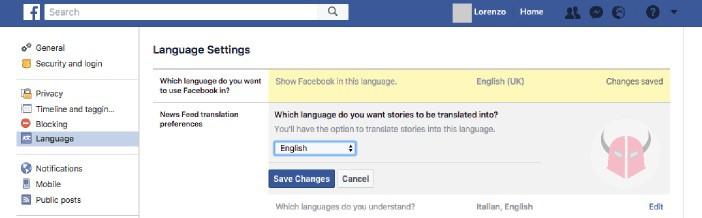 come cambiare lingua su Facebook Traduzioni e lingue conosciute