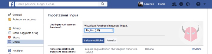 come cambiare lingua su Facebook interfaccia da italiano a inglese