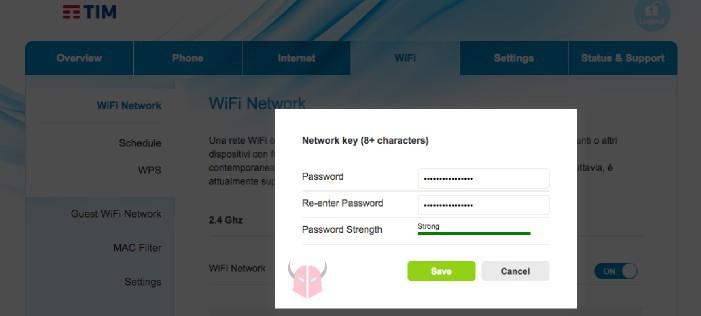come cambiare password WiFi TIM modifica reti wireless