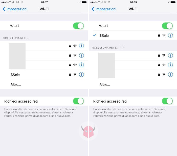 come connettere iPhone al WiFi collegamento rete wireless
