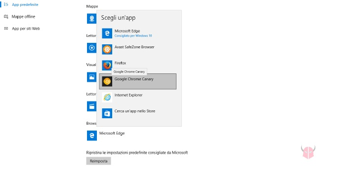 come impostare browser predefinito su Windows 10 cambio Browser Web