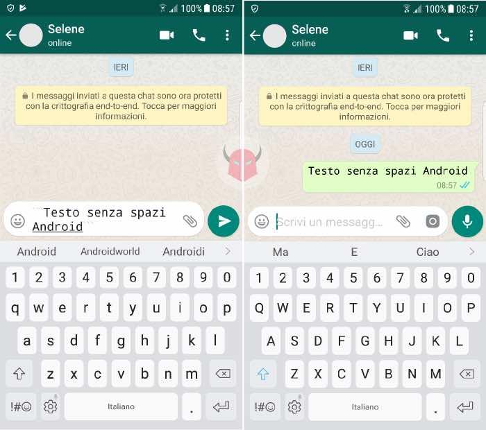 come scrivere in Monospace su WhatsApp con Android codici Monospace