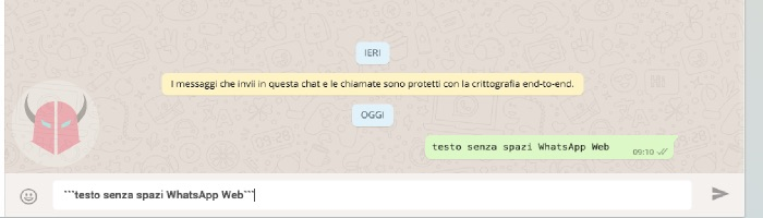 come scrivere in Monospace su WhatsApp con WhatsApp Web