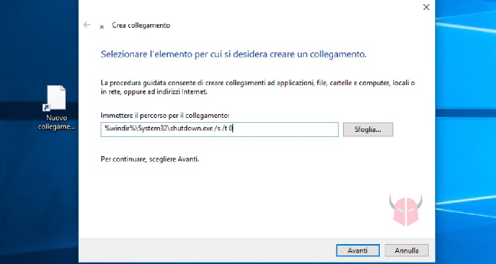 come spegnere PC Windows 10 collegamento sul Desktop