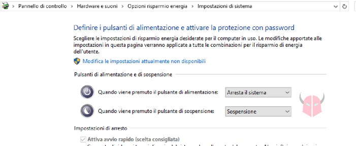 come spegnere PC Windows 10 tasto Power