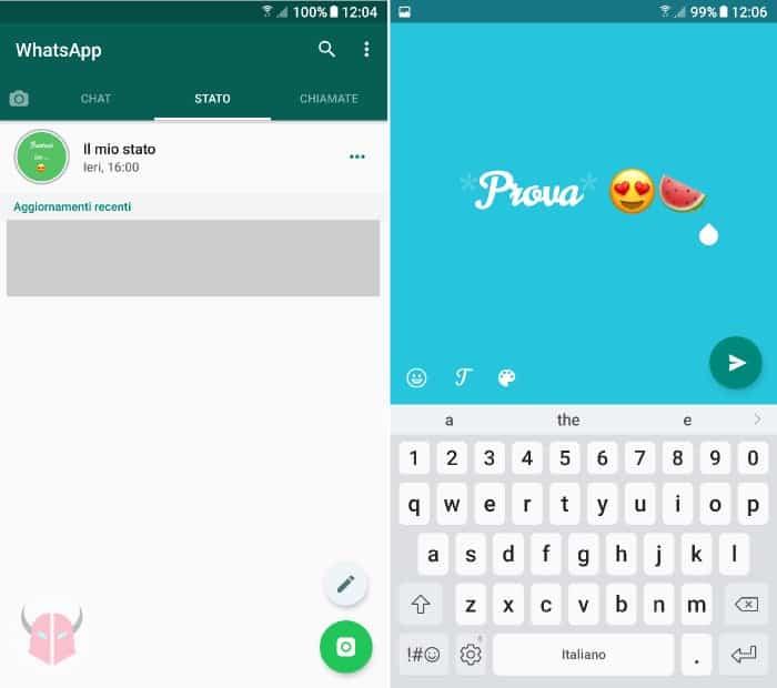 come creare scritte colorate Stati WhatsApp editor per scrivere uno Stato