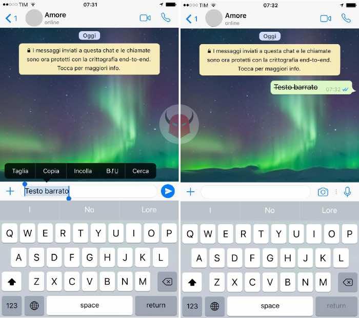 come scrivere barrato su WhatsApp menu di formattazione