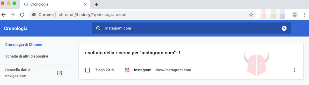 come cancellare cronologia Instagram browser visualizzazione query