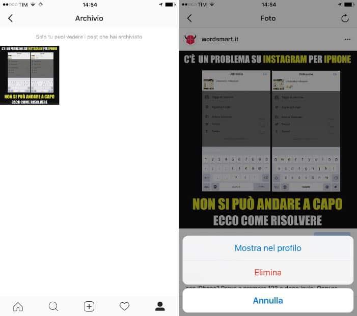 come recuperare post archiviati Instagram ripristino nel profilo iPhone