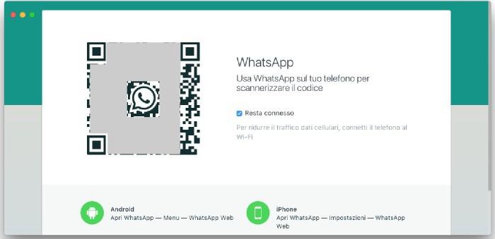 come scannerizzare codice WhatsApp accesso WhatsApp Web