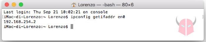 come trovare indirizzo IP del PC macOS