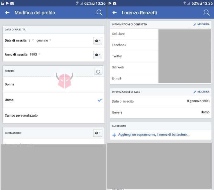 come cambiare data di nascita su Facebook Android