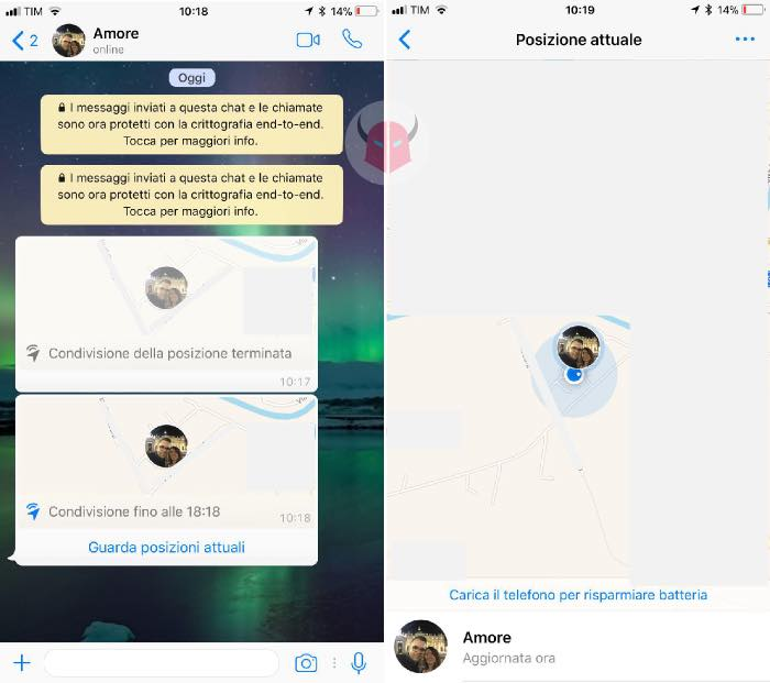 come inviare posizione in tempo reale WhatsApp cosa vedono gli altri