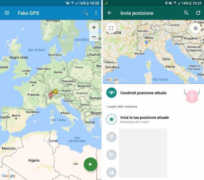 come inviare posizione in tempo reale WhatsApp posizione GPS falsa