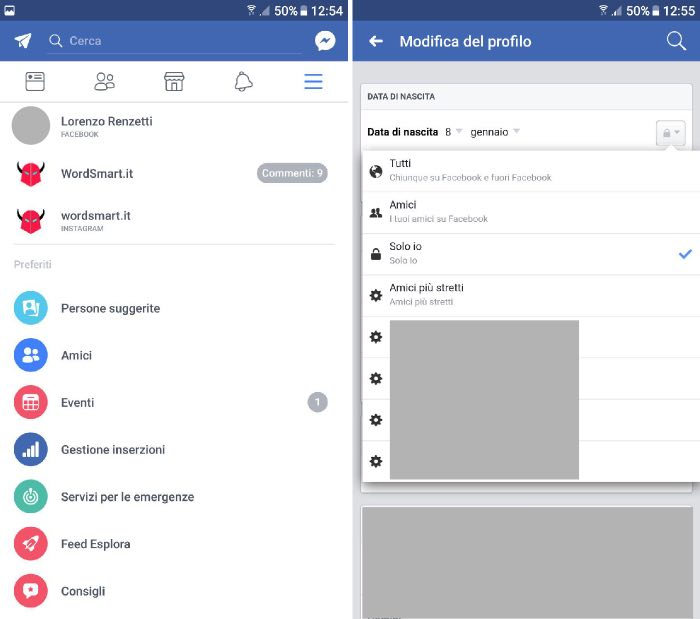come nascondere compleanno Facebook Android