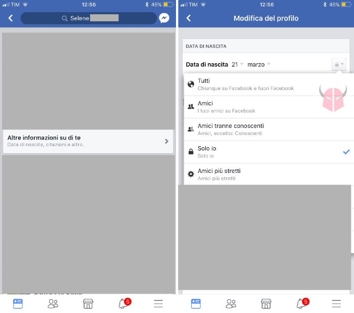 come nascondere compleanno Facebook iPhone
