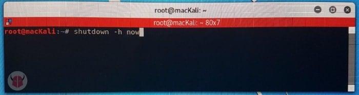 come spegnere computer dalla tastiera Kali Linux
