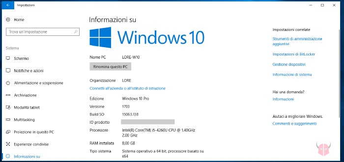 come vedere se il PC è 32 o 64 bit Windows 10 tipo sistema operativo