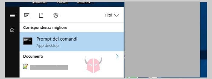 prompt dei comandi come amministratore Windows 10 Ricerca Windows