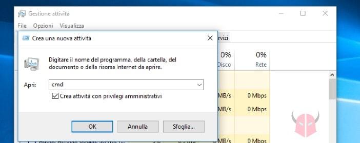prompt dei comandi come amministratore Windows 10 Task Manager