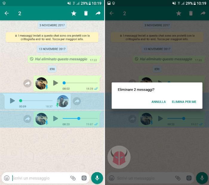 come cancellare messaggi WhatsApp per te stesso
