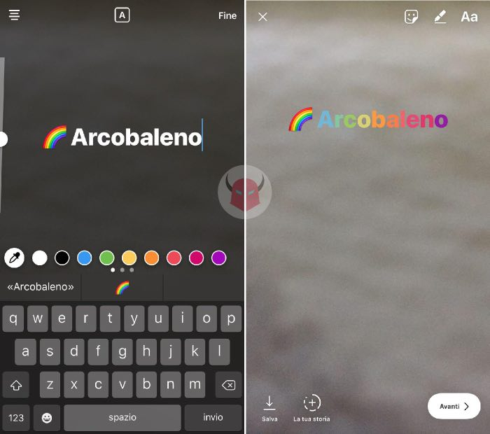 spesso Come fare scritta arcobaleno Instagram - WordSmart.it VU78