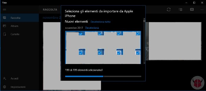 come scaricare foto da iPhone Windows Raccolta Foto
