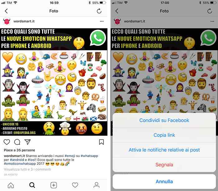 come attivare notifiche Instagram post