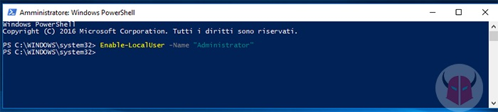 come creare account amministratore Windows 10 PowerShell