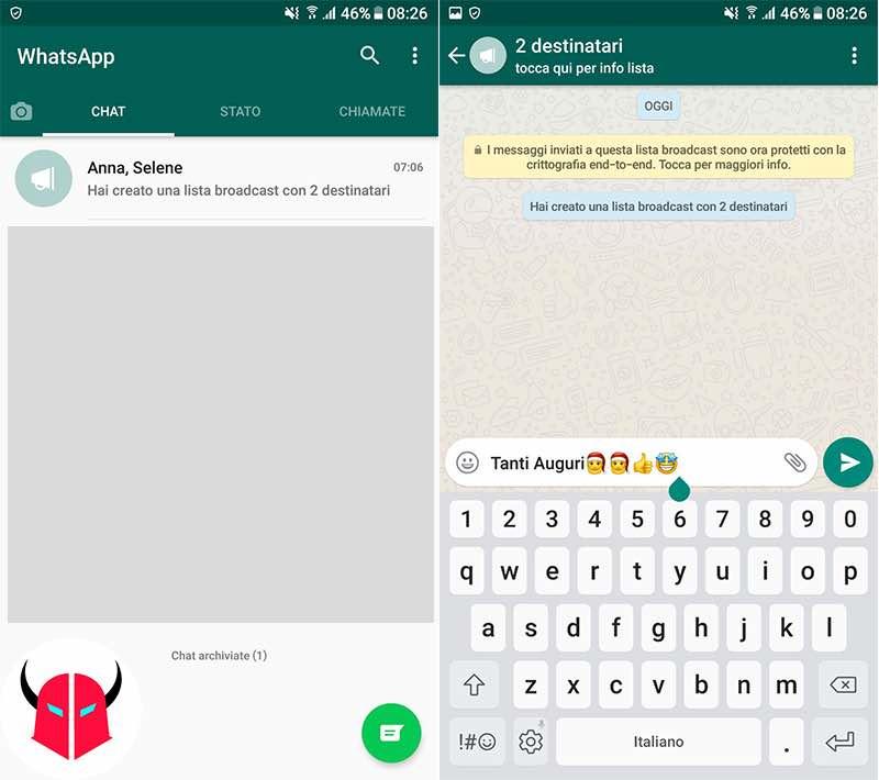 come mandare stesso messaggio a più persone WhatsApp lista broadcast