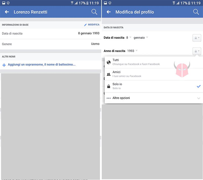 come nascondere data di nascita Facebook Android