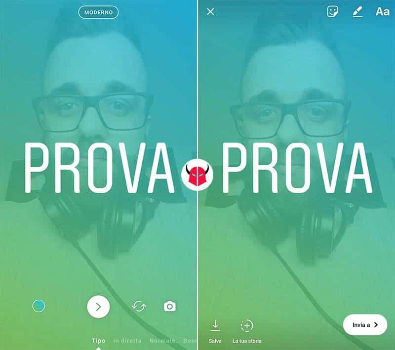 come cambiare scrittura Storie Instagram modalità Tipo