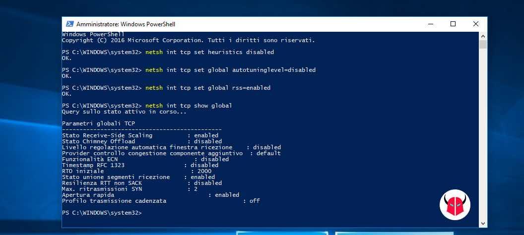non è possibile connettersi a questa rete Windows 10 TCP stack RSS e Autotuning