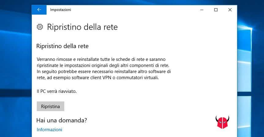 non è possibile connettersi a questa rete Windows 10 ripristino impostazioni