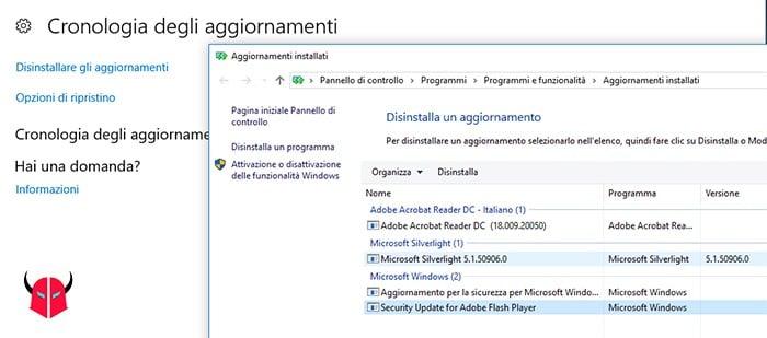 come annullare aggiornamento Windows 10 cronologia e disinstallazione