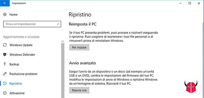 come annullare aggiornamento Windows 10 ripristino