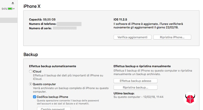 come fare backup iPhone iTunes