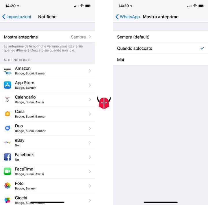 come nascondere notifiche iPhone disattivazione anteprime messaggi