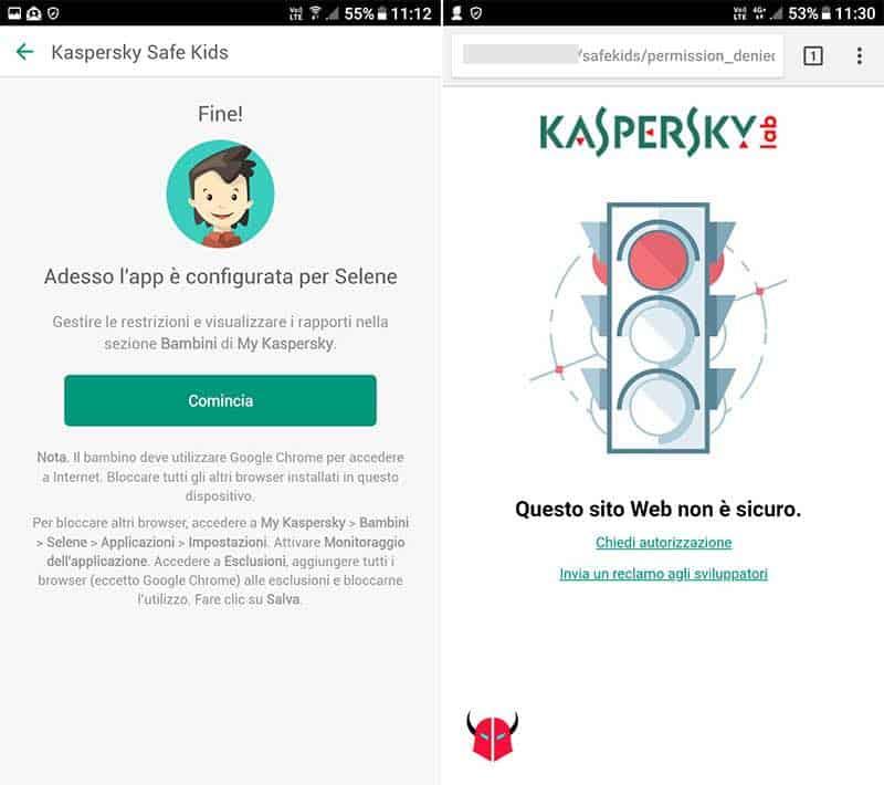 come bloccare siti ai bambini Kaspersky Safe Kids