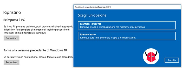 come reinstallare Windows 10 senza perdere dati reimposta PC