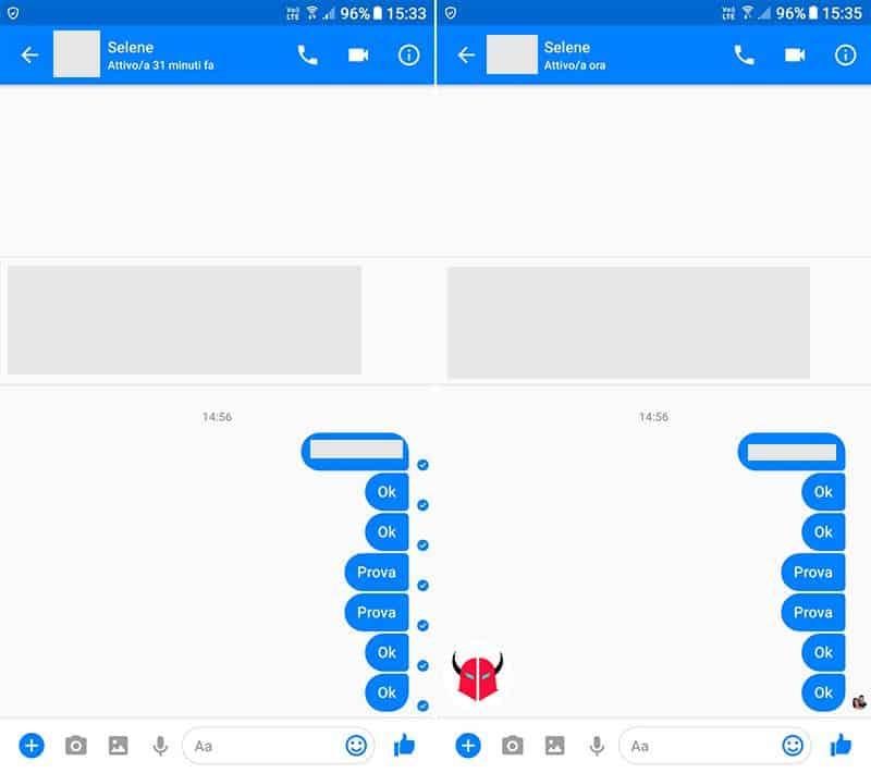come vedere se un messaggio è stato letto su Messenger icone chat