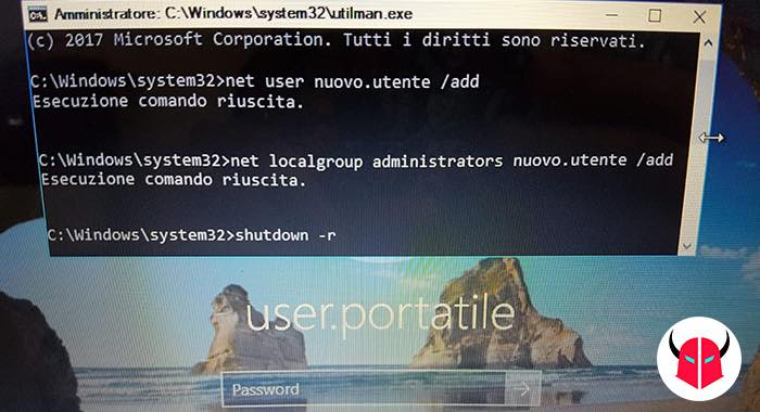 come bypassare password amministratore Windows 10 nuovo amministratore cmd