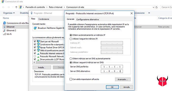 come impostare DNS Cloudflare Windows