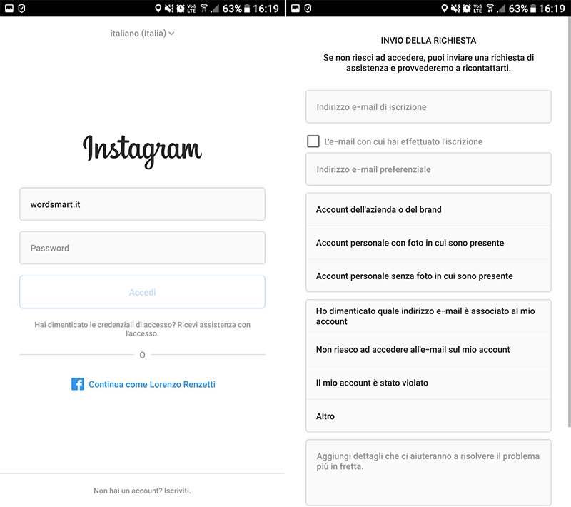 come accedere a Instagram senza password richiesta supporto