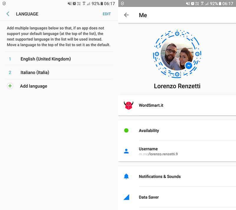 come cambiare lingua su Messenger applicazione