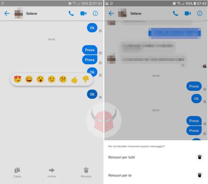 come cancellare messaggi Messenger destinatario opzione Rimuovi per tutti