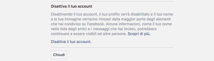 come cancellare messaggi Messenger destinatario disattivazione account