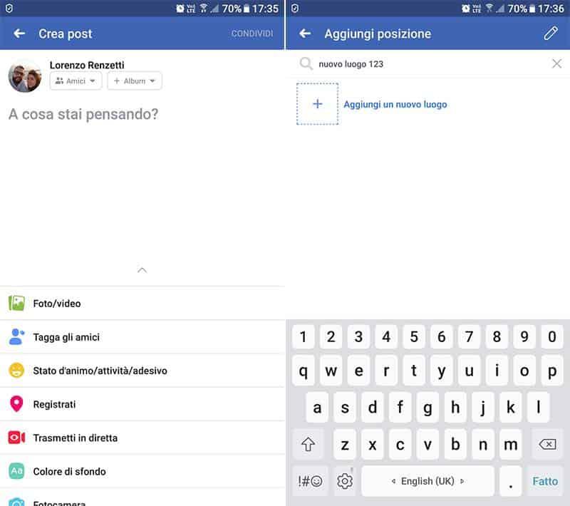 come creare un luogo su Instagram aggiungi posizione Facebook