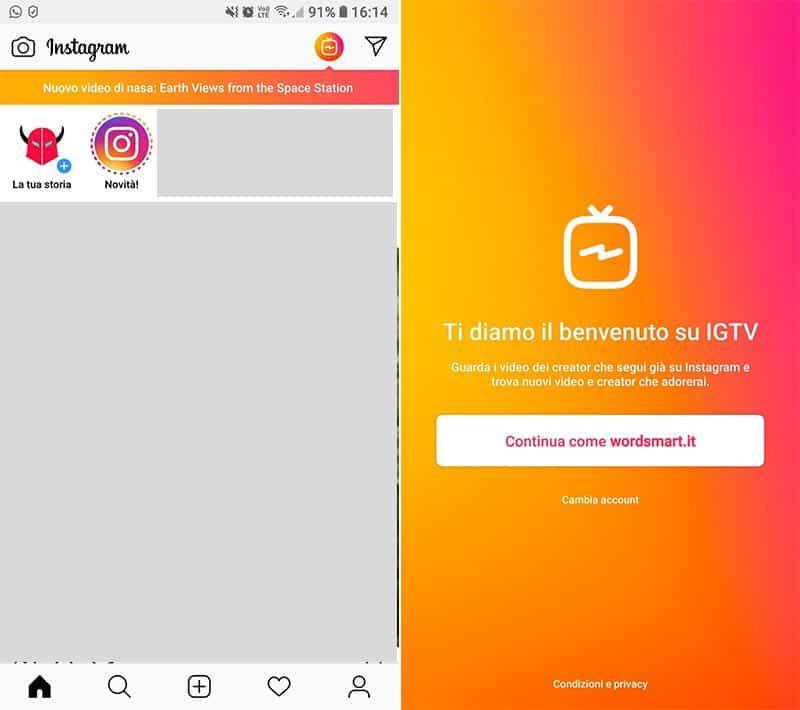 come funziona IGTV Instagram pulsante