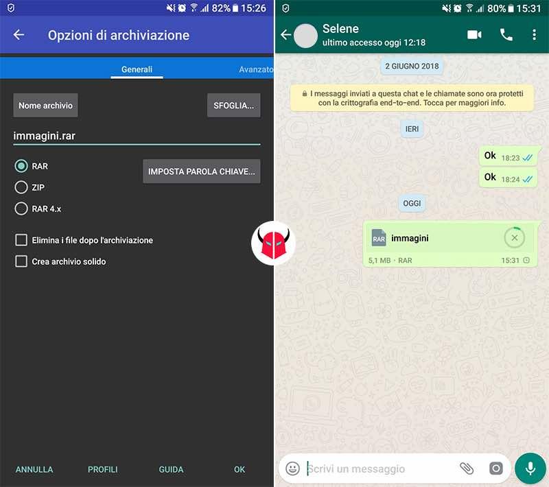 come inviare immagini WhatsApp senza perdere qualità file zippato